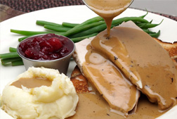 gravy poured on a turkey