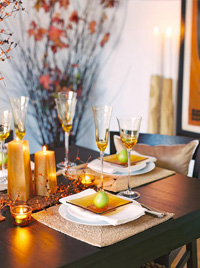 pear and warm golden Thanksgiving tablescape