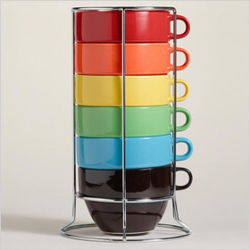 Multi-Color Jumbo Stacking Mugs Set of 6, www.worldmarket, $17.99