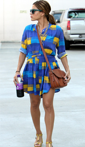 Printed blue and yellow dress