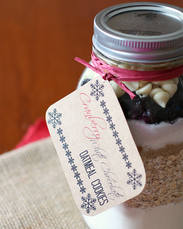 White chocolate cranberry oatmeal mason jar cookie recipe