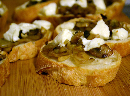 Caramelized onion and mushroom bruschetta