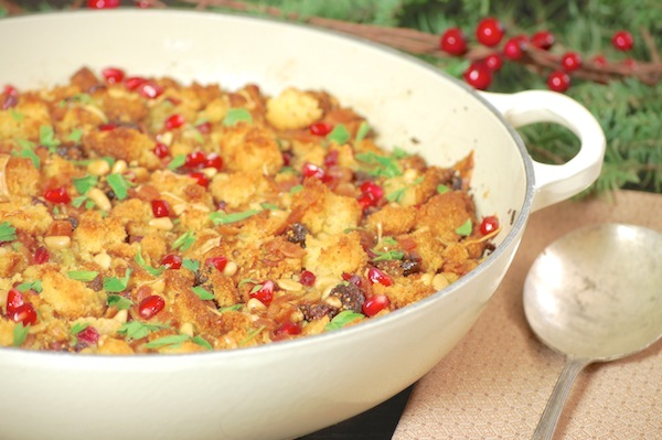 Bacon-cornbread stuffing with dried figs and pomegranate arils recipe