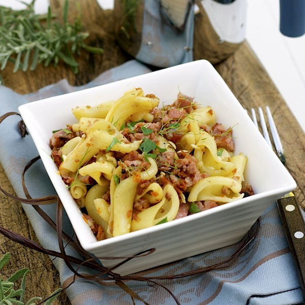 pasta with sausages, cheese and tomatoes