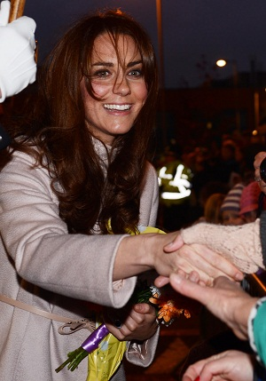 Kate Middleton working the line