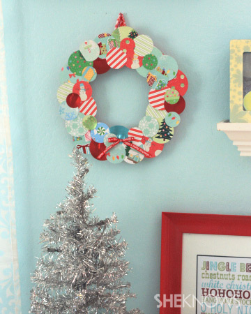 Christmas themed scrap paper wreath