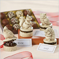 Harry and David wooden truffle placecard set