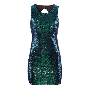 HM blue green glitter dress