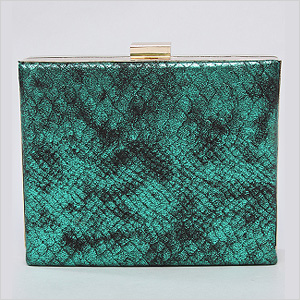 green faux snake skin clutch