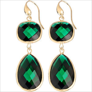 Emerald and gold drop earrings