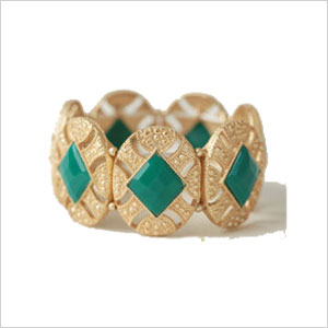 emerald green and gold braclet