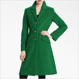Green single breasted coat