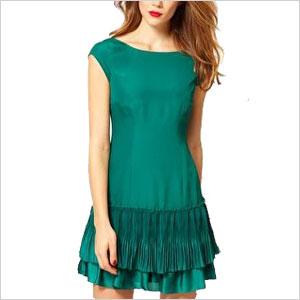 green drop waist dress