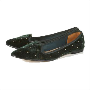 green studded slippers