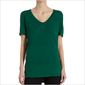 green v neck shirt