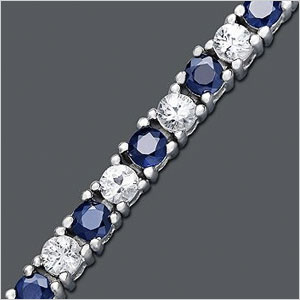 Blue and White Sapphire Bracelet