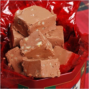 Gift tin of fudge