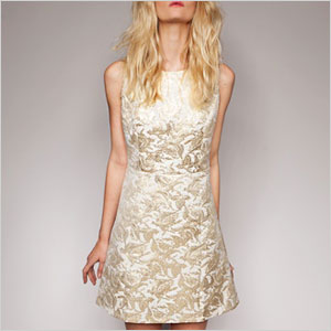 Gold brocade mini dress