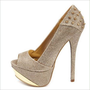 Charlotte russe gold spiked heel pumps