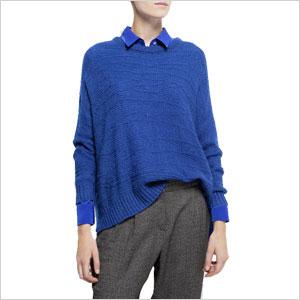 Blue open work sweater