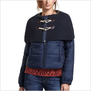 Toggle cape puffer jacket