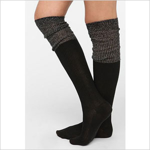 Metallic cuff thigh high sock