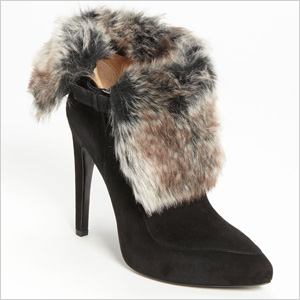 Black boots with faux fur trim