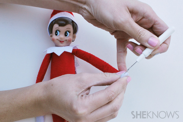Remove stitches - making your Elf on the Shelf bendable