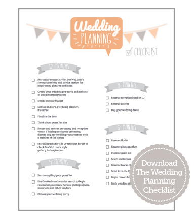 Wedding planning checklist and timeline