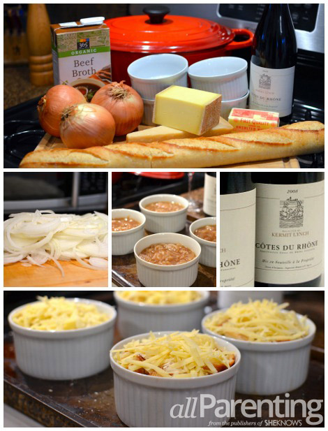 Mini French onion soup collage
