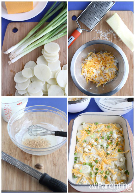 Three cheese potato gratin collage