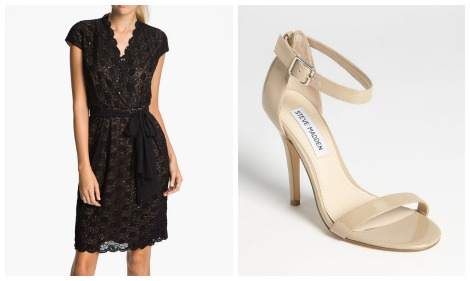NOrdstrom little black dress and nude pumps