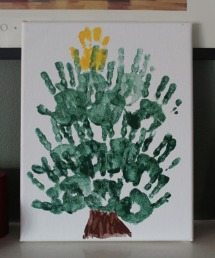Christmas tree handprint art