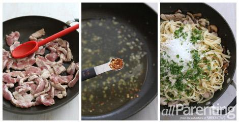 Pork mushroom and fetuccine