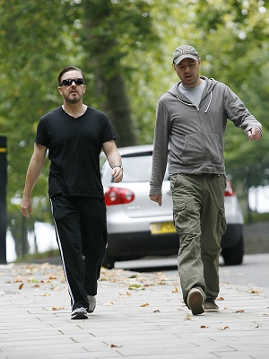 An Idiot Abroad's Karl Pilkington with Ricky Gervais