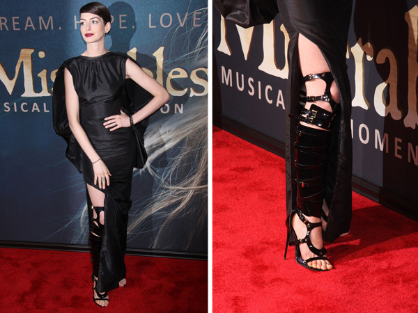 Anne Hathaway wearing Tom Ford vegan bondage boots