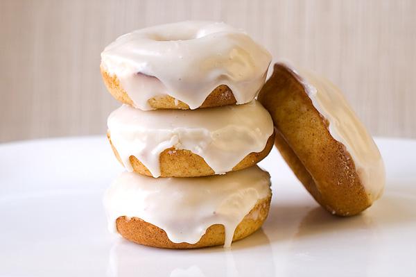 Eggnog doughnuts with eggnog rum glaze