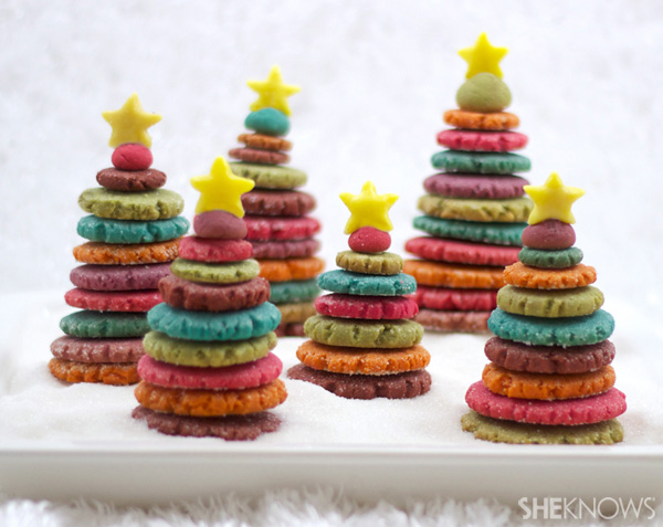 Colorful 3D Christmas Tree Cookies