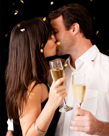 Couple kissing on New Year's Eve