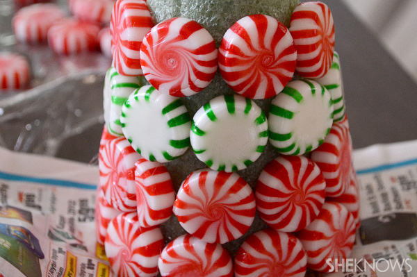 DIY candy mint Christmas tree -- glue mints on tree