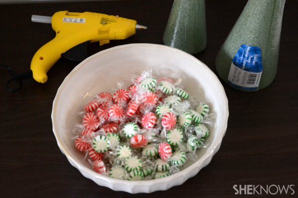 DIY candy mint Christmas tree -- supplies