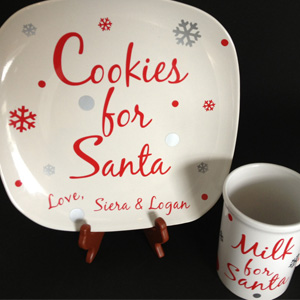Plate and mug set for Santa