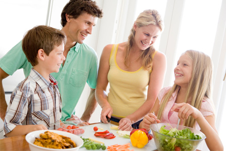 Family cooking healthy dinner