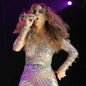 Jennifer Lopez wearing skin suit