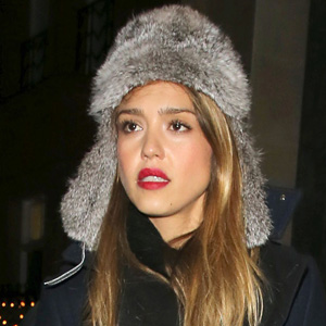 Jessica Alba wearing trapper hat