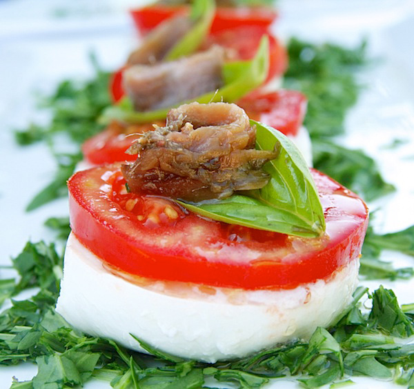 mozzarella with anchovies and truffle oil