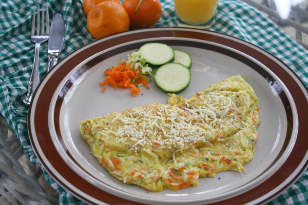 Zucchini and carrot omelet