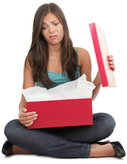 woman upset with gift