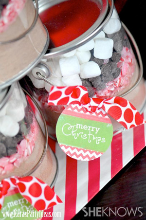 Hot cocoa party favor tins