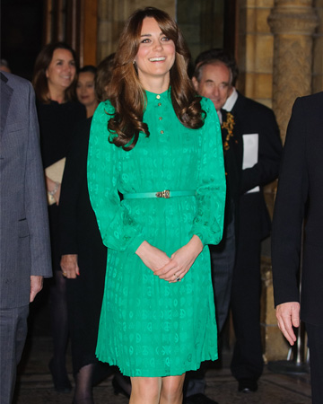 Kate Middelton wearing emerald green
